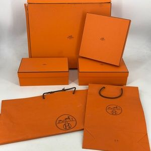 Authentic Hermes boxes and bags lot